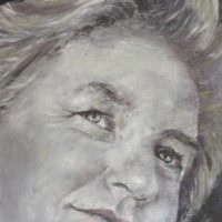Autoportrait - huile sur toile couteau 50x50 cm