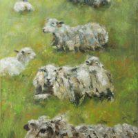 Moutons - huile sur toile couteau 73x92 cm